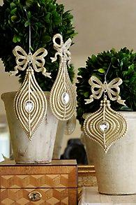 Glitter Bow Ornament Set