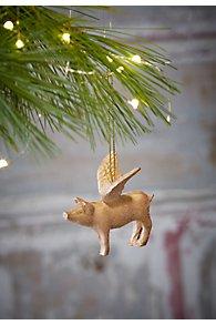 Gold Flying Pig Ornament