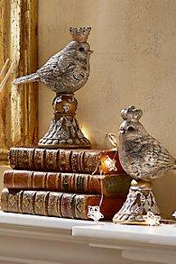 Bird with Crown on Pedestal - Set of 2