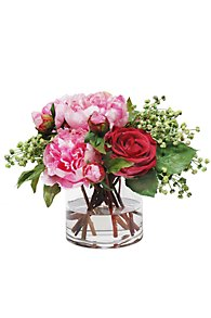 Peony & Rose Bouquet in Glass Vase