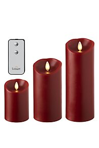 Push Flame Pillars, Set of Three with Remote