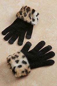 Faux Fur Trim Gloves