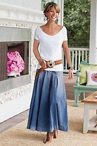 Pleated A-Line Denim Maxi Skirt