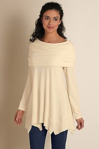 Over The Shoulder Cowl Neck Tunic