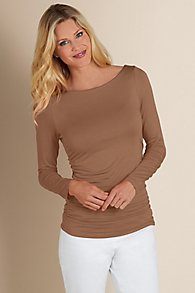 Womens Ruched Knit Top