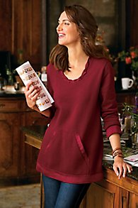 Satin Trim Sweatshirt Tunic