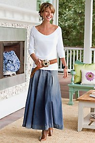 Pleated A-Line Denim Skirt