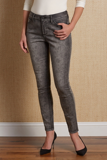 NOT YOUR DAUGHTER'S JEANS ALINA MIDNIGHT FLORAL LEGGINGS