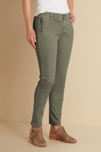 TALLS ZIP POCKET STRETCH ANKLE PANTS