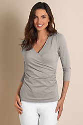 3/4 Sleeve Shapely Surplice Top I