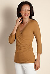 3/4 Sleeve Shapely Surplice Top