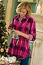 Women Plaid Velvet Big Shirt Photo