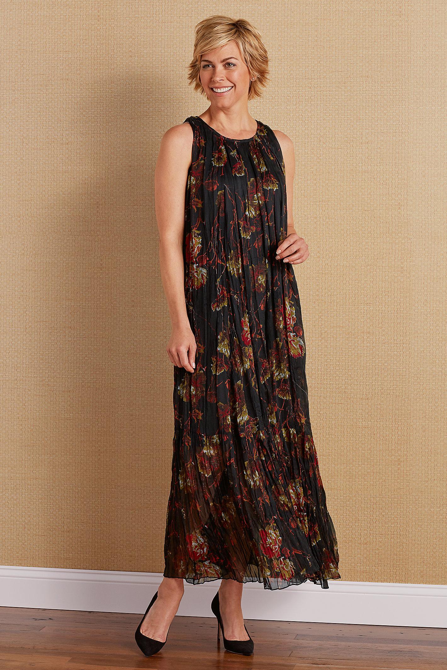 Black Night Floral Dress