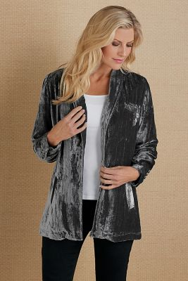 Carlita Silk Velvet Jacket - Crushed Velvet Jacket, Women's Velvet ...