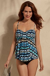 Fit 4 U Ikat Waterfall Tankini Top