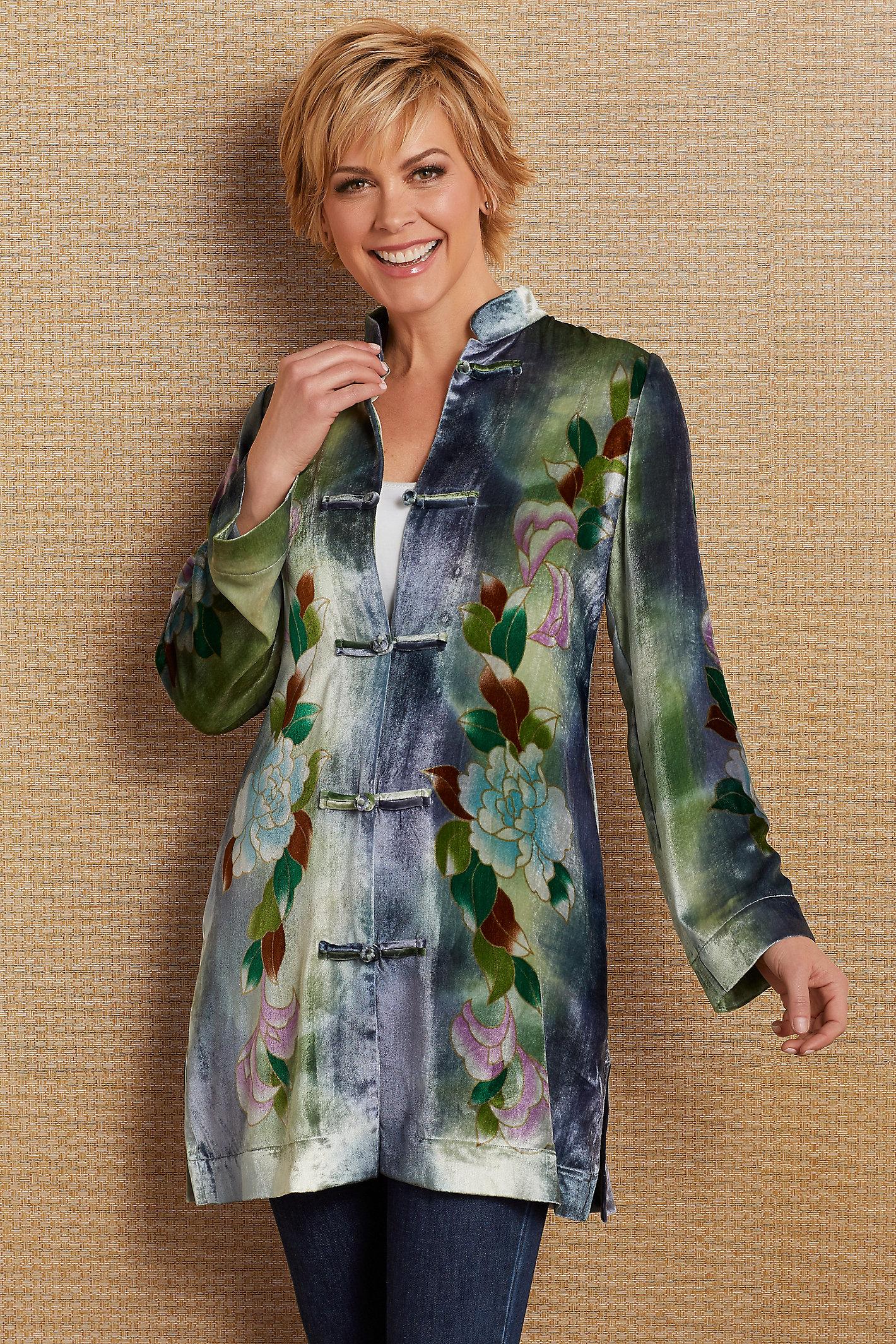 Petites Printed Silk Velvet Jacket