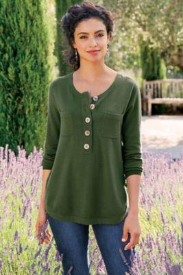 Henley Sweater Womens