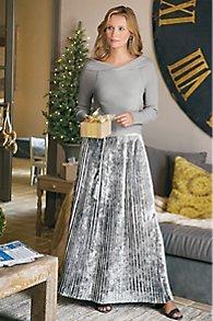 Vivian Velvet Pleated Skirt
