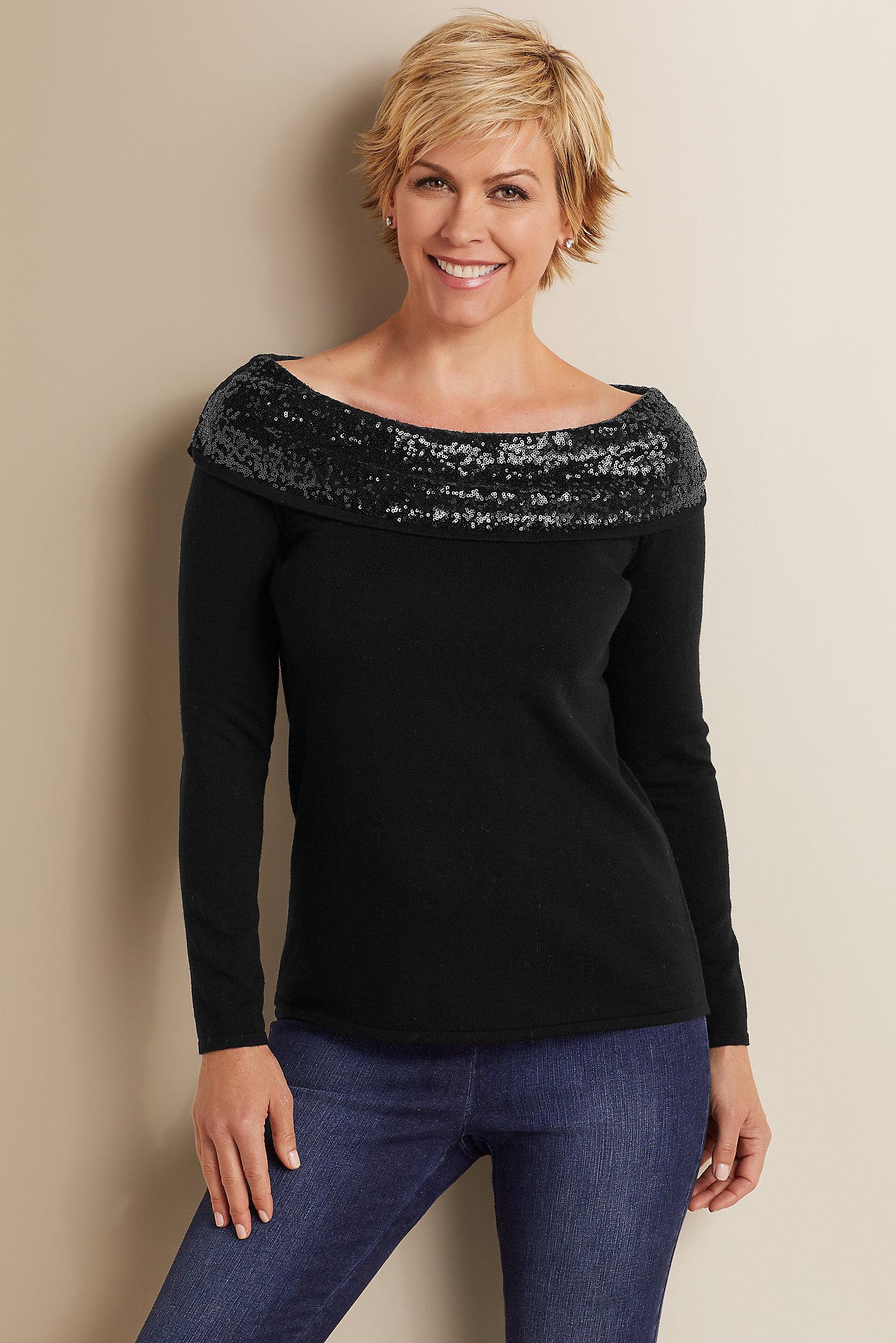 Petites Raven Sequin Sweater