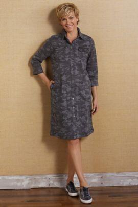Camille Camo Shirt Dress