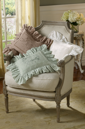 RUFFLE EMBROIDERED BOUDOIR PILLOW
