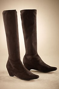 Suede Wedge Stretch Boots