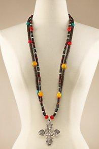 Wood Bead Cross Necklace