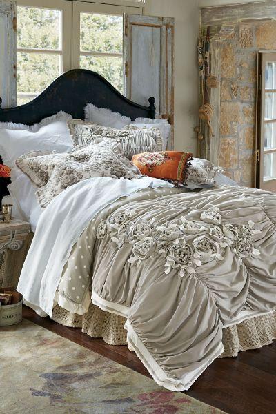Vintage Boho Comforter - Rose Comforter, Ruched Comforter   Soft  Surroundings Outlet