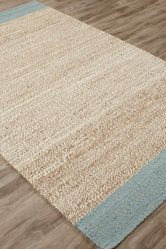 Manzanita jute area rug from Soft Surroundings with contrasting dyed edges blue gray nautical area rug coastal decor #softsurroundings #jutearearug