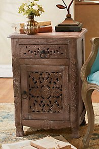 Jodhpur Carved Wood Side Table