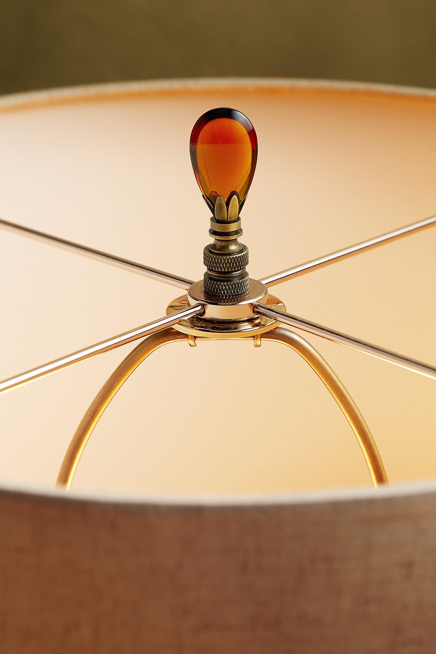 Amber Teardrop Lamp Finial