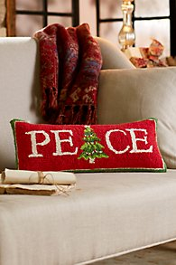 PEACE Hooked Holiday Pillow