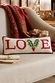 LOVE Hooked Holiday Pillow