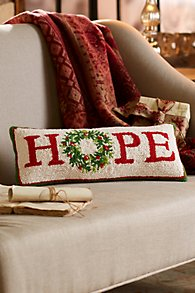 HOPE Hooked Holiday Pillow