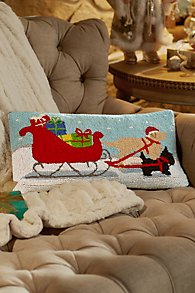 Dogs Pulling Sleigh Hooked Pillow