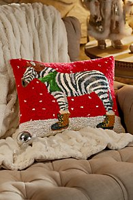 Zebra with Hat Hooked Pillow
