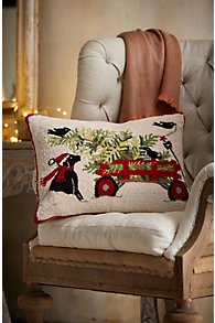 Dog with Wagon Hooked Holiday Pillow