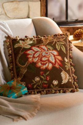 Jacobean Chrysanthemum Needlepoint Pillow