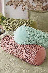 Scarlett Ruched Velvet Bolster Pillow