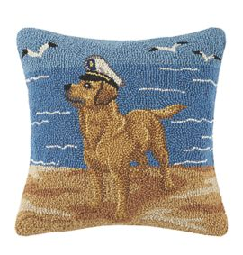 Golden Lab with Sailor Hat Hooked Pillow