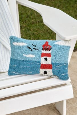 Lighthouse Hooked Pillow