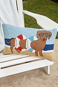 Dachshund in Tube Beach Hooked Pillow