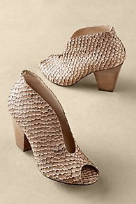 Snakeskin Peep-Toe Heels