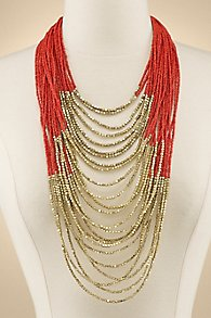 Coral and Gold Layer Necklace