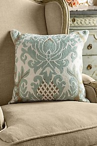 Crewel Damask Pillow Cover
