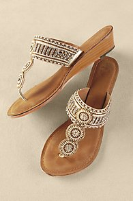 Beaded Wedge Sandals