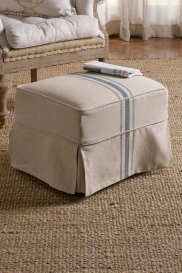 Beautiful blue stripe ottoman linen ottoman soft surroundings #ottoman #softsurrounedings french grain stripe ottoman farmhouse ottoman french country ottoman jute area rug French Country Style Blue grain stripe blue ticking