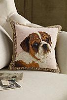 Bulldog Needlepoint Pillow