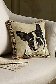 Boston Terrier Needlepoint Pillow
