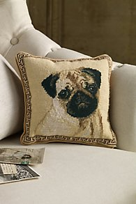 Fawn Pug Needlepoint Pillow